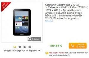 """Samsung Galaxy Tab 2 7"""" 8go au plus bas prix"""