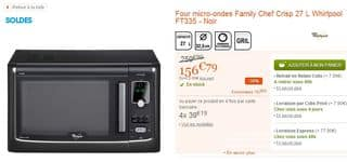 Soldes Four micro-ondes Whirlpool Family Chef CRISP 156 euros