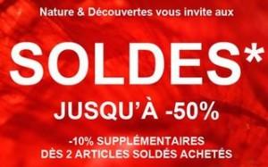 50% + 10% supplémentaire sur les soldes Nature et Découvertes (des 2 articles achetés)
