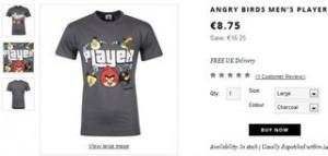 T-shirt homme Angry Bird 8,75 euros (livraison gratuite)