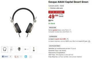 Vente flash casque audio AIAIAI Capital Desert à 49,90 euros au lieu du double
