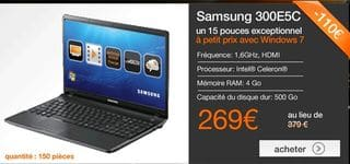 Vente flash 269 euros ordinateur portable samsung entre 340 et 370 euros ail - Ordinateur vente flash ...