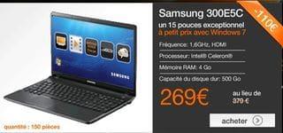 Vente flash ordinateur portable Samsung