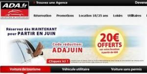 code promo ADA location 20 euros