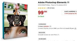 Adobe Photoshop Elements 11 99 euros a la FNAC