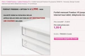 FreeBox : 1,99 euros/mois pendant 1 an