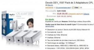 59,90 euros les 3 adaptateurs CPL Devolo 200 Mbps
