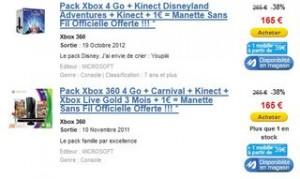 1 euro la manette supplémentaire pour l'achat d'un pack Xbox (à partir de 165 euros)