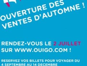 Billet OUIGO à partir de 10 euros (ouverture des ventes)