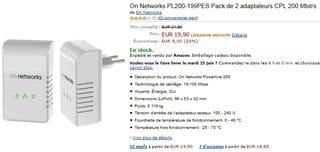 pack de 2 adaptateurs CPL On Networks 200Mbit/s pour moins de 20 euros