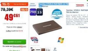 soldes disque dur Toschiba 49 euros