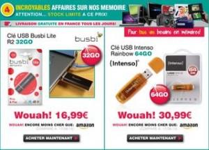 30,99 euros la clé USB 64Go / 16,99 euros la 32Go (livraison gratuite)