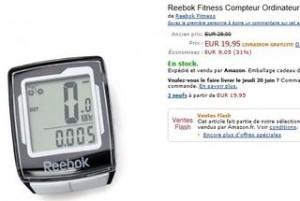 Moins de 20 euros le compteur velo Reebok 10 fonctions (port inclus)
