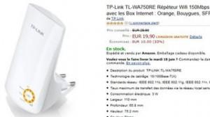 Moins de 20 euros Répéteur TP-Link (livraison gratuite)