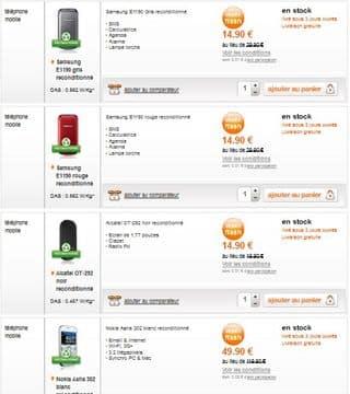 moins de 15 euros t l phones reconditionn s orange samsung e1190 alcatel ot 292 moins 50. Black Bedroom Furniture Sets. Home Design Ideas