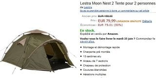 Vente flash tente 2 personnes Lestra Moon Nest2