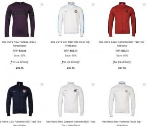 27,55 euros la Veste Nike (Barcelone, Inter Milan, Italie, Espagne, All Blacks..), 12,55 euros  les T-shirts Nike (port inclus)