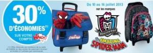 1 cartable Spiderman/Monster High acheté = 30% sur votre compte Waaoh