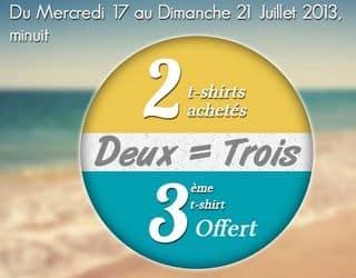 2 T-shirts en soldes achetés = 1 gratuits (Delaveine)