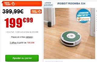 200 euros l'Aspirateur Robot iRobot Roomba 534