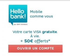 50 euros gratuits Hello Bank