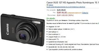 99 euros Appareils Photo Canon IXUS 127 HS