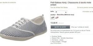 Chaussures Petit Bateau Kenji V toile à seulement 13,80 euros