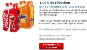 Coupon de réduction Coca-Cola et Fanta
