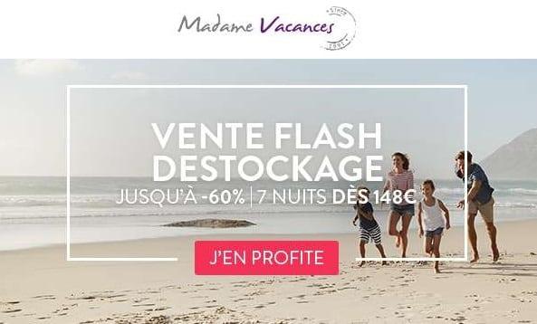 Déstockage séjours : jusqu'à moins 60% avec Madame Vacances