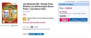Double Pack Enfants Jeu Nintendo Wii - Les Schtroumpfs Dance Party + Just Dance Kids