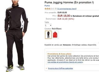 Jogging Puma homme 18 euros (port inclus)