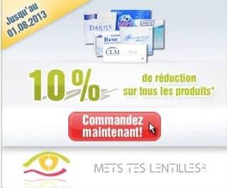 Mets tes lentilles : 10% sur tout + livraison gratuite sans minimum (lentilles, lunettes, entretien)