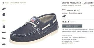 Mocassins homme US Polo Assn à 18 euros