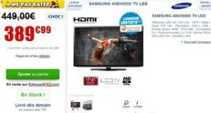 """Moins de 390 euros le Téléviseur Samsung LED Full HD 40"""" (101 cm)"""