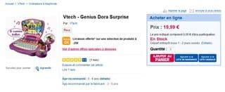 Ordinateur Dora l'exploratrice : Genius Vtech à moins de 20 euros.