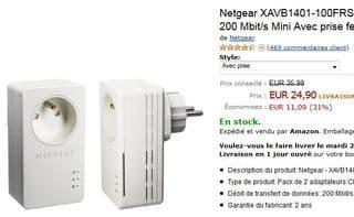 PROMO Adaptateurs CPL 200 Mbits Mini Netgear XAVB1401-100FRS Avec prise femelle