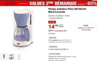 SOLDES Cafetière Filtre Philips HD7562/40 à 14 euros seulement
