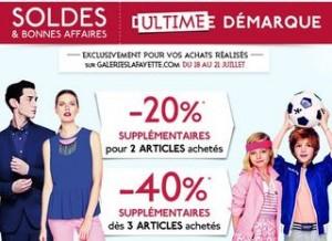 De -20% à -40% supplémentaires sur les soldes Galeries Lafayette