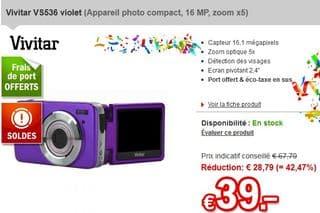 appareil photo num rique vivitar 16 mpix 39 euros port inclus au lieu de plus de 55. Black Bedroom Furniture Sets. Home Design Ideas