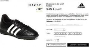 Soldes basket noire Adidas enfant à moins de 10 euros
