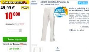 10 euros Pantalon de survêtement femme Adidas Originals blanc/argent (contre 49 euros)