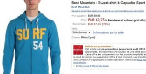 Sweat a capuche Best Mountain soldes 12 euros