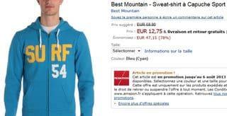 Sweat a capuche Best Mountain soldes 12 euros