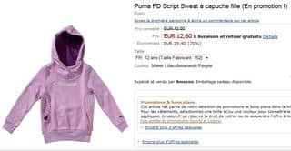 12,60 euros le Sweat à capuche fille Puma (4, 6 ou 12 ans) au lieu de 42€ – livraison gratuite