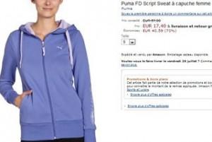 Sweat capuche femme PUMA promo moins 70 pourcent