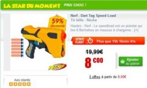 8 euros le Pistolet Nerf Dart Tag Speed Load au lieu de 19,90 euros