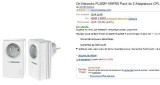 Vente flash Pack 2 Adaptateurs CPL avec prise 200 Mbit/s On Networks