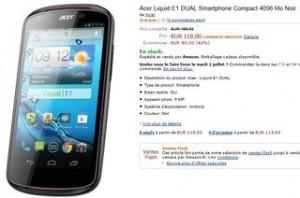 119 euros Smartphone Acer Liquid E1 DUAL (double Sim, double coeur)