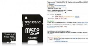 Moins de 40 euros la carte mémoire Micro SDXC 64Go Classe 10 Transcend