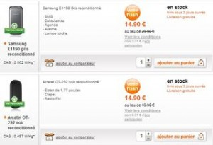 Vente flash de téléphones portables reconditionnes Alcatel ou Samsung chez Orange